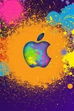 Preview iPhone wallpaper Apple paint colorful