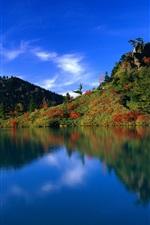 Blauer Himmel blau Wasser grünen Hügel