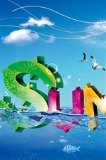 Preview iPhone wallpaper Colorful fresh summer water letter