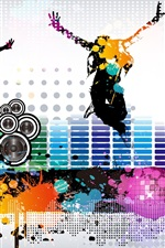 Preview iPhone wallpaper Colorful music fly vector