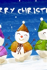 Preview iPhone wallpaper Five lovely hand painted snowman