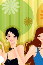 Preview iPhone wallpaper Four fashion girl vector