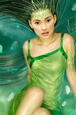 Preview iPhone wallpaper Green dress long hair girl