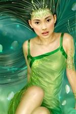 녹색은 긴 머리의 여자 드레스