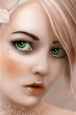 Preview iPhone wallpaper Green eyes wearing a flower girl