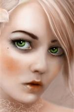 꽃 파는 소녀를 입고 녹색 눈