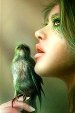 Aperçu iPhone fond d'écranJeune fille aux cheveux vert avec des oiseaux