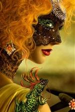Preview iPhone wallpaper Lizard Mask girl