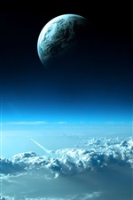 Preview iPhone wallpaper Planet on top of blue clouds