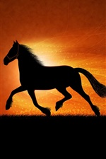 Preview iPhone wallpaper The black silhouette of a horse running