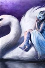 하얀 백조에 앉아 있던 여자