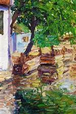 Town creek and bridge watercolor painting