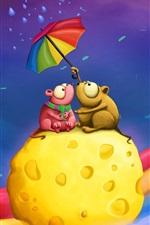 케이크에있는 두 개의 작은 생쥐의 우산