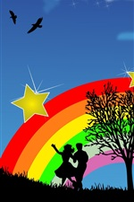 Preview iPhone wallpaper Vector silhouette of love