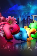 Preview iPhone wallpaper 3D colorful party