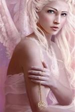 천사 소녀 흰 머리