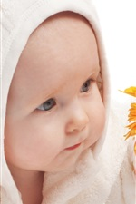 Preview iPhone wallpaper Cute baby take the flower