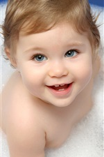 Preview iPhone wallpaper Cute baby taking a bath