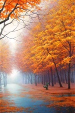 Preview iPhone wallpaper Foggy Autumn