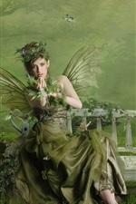 Vorschau des iPhone Hintergrundbilder Green Schmetterlingsflügeln Mädchen