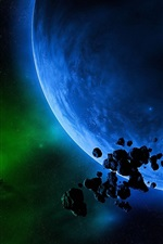 Preview iPhone wallpaper Green light and blue planet