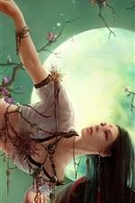 Oriental girl under the moonlight