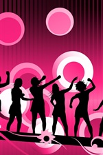 Preview iPhone wallpaper People silhouette Vector purple background