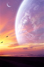 Preview iPhone wallpaper Sunset in the planet