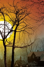 Preview iPhone wallpaper Sunset over the village