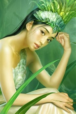 The girl in green grass