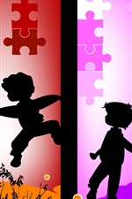 Preview iPhone wallpaper Vector silhouette of children