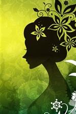 Aperçu iPhone fond d'écranLes femmes Vector fleurs vertes