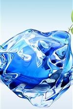 Água 3D com folhas verdes