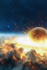Preview iPhone wallpaper Asteroid impact explosion