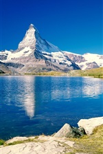 Preview iPhone wallpaper Blue lake and mountain scenery