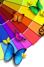 Preview iPhone wallpaper Bright color palette and the Butterfly