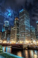 Chicago city night lights