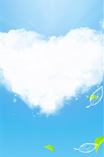 Preview iPhone wallpaper Clouds of Love and green leaves