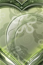 Preview iPhone wallpaper Crystal green love heart