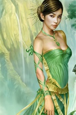 Preview iPhone wallpaper Green skirt oriental girl