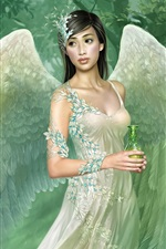 Preview iPhone wallpaper Green wings angel girl
