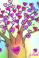 Preview iPhone wallpaper I Love You love heart tree