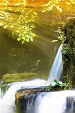 Preview iPhone wallpaper Small waterfall and sunlight