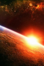 Preview iPhone wallpaper Sunrise Earth in space