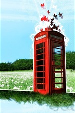 Preview iPhone wallpaper Dream world of telephone booth