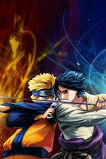 Preview iPhone wallpaper Naruto VS Sasuke