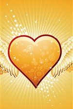Preview iPhone wallpaper Orange heart-shaped wings of love