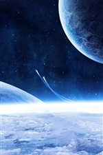 Preview iPhone wallpaper Space ship and blue planet