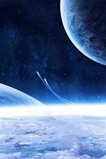우주선과 파란 행성