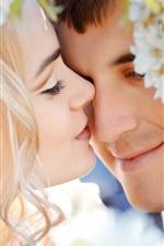 웨딩 부부는 감정의 꽃을 사랑하는